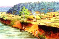 Painting depicting a Cherokee farmstead in the mid-18th century