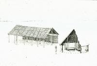 Drawing depicting Cherokee winter and summer domestic structures