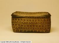Photograph of late 18th century to 1838 lidded double weave cane basket from Knox County, Tennessee