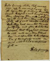 Felix Grundy`s testimony in matter of the estate of William Hamilton