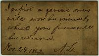 Card from President Lincoln