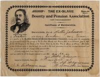 Certificate of membership to the Ex-Slave Bounty and Pension Association.