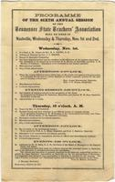 Program of the sixth annual session of Tennessee State Teachers` Association