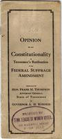 Opinion on the constitutionality of Tennessee`s ratification of the federal suff