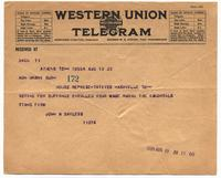 Telegrams to Harry T. Burn