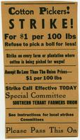 Cotton pickers strike flyer