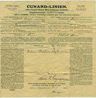 Passenger contract with the Cunard Steam Ship Company