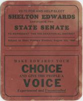 Vote for and Help Elect Shelton Edwards, Candidate for State Senate