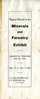 Specifications on the mineral and forestry exhibit