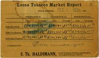 Loose Tobacco Market Report of February 1, 1929, from Clarksville, Tennessee