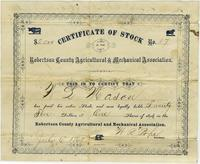 Certificate of Stock, Robertson County Agricultural and Mechanical Association