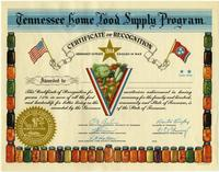Tennessee Home Food Supply Program Certificate of Recognition