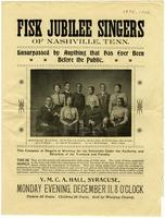 Concert Program for Fisk Jubilee Singers of Nashville, Tenn. in Syracuse, N.Y.