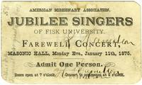 Ticket for Jubilee Singers of Fisk University, Farewell Concert