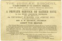 Ticket for The Jubilee Singers, A Private Service of Sacred Song in the Free Church, Dunoon