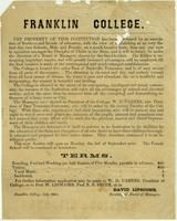 Franklin College Announcement, 1860