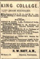 Advertisement for King College