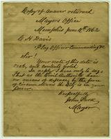 Letter of surrender by John Park in Memphis, TN, to C.H. Davis in Memphis, TN