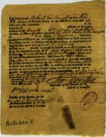 License of Robert Cartwright to operate a still for one month, 1797