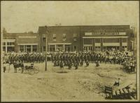 Gathering with soldiers in Downtown Algood, Tennessee, c. 1917