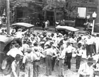 Evangelist conducting an impromptu revival during the Scopes Trial