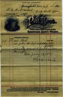 Pitt Brothers Whiskey Sales Receipt