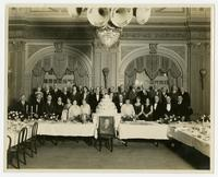 [Group photograph of the twenty-fifth anniversary dinner celebration of home demonstration and agricultural extension work, Texas, circa 1928.]