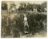 [Grace Waters standing in garden plot]