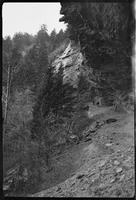 Early pictures of Alum Cave. Descent & ascent was [sic] made by wire cable at far end of overhang