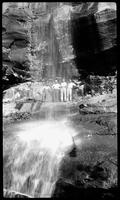 L-R. Clyde Kitts, Maurice Webster, Virgie Boruff & Herb under Rainbow Falls (John Donaldson apparently made picture)