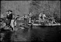 Citico Creek Crossing. At right, Charlie D. & Prof Duncan give assist to Harriett Foulkes, center, Sonny Morris looks on, as Hugh Hoss gives a hand to Mildred W[ebster], L[eft], & Mildred T., [Right]