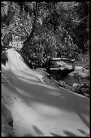 Little bridge in snow near Arch Rock
